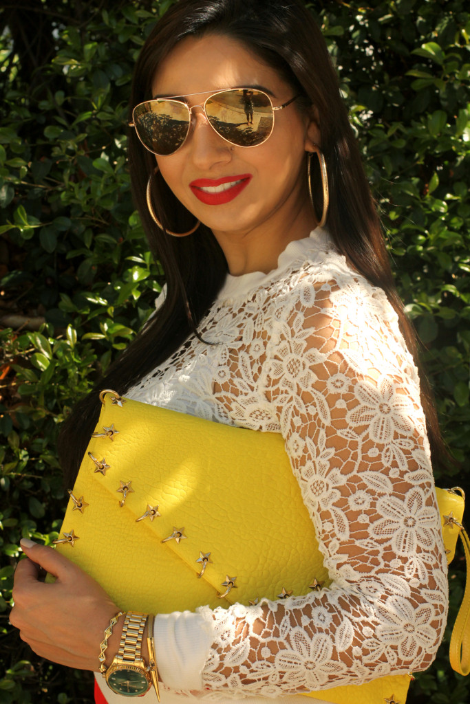 lace top yellow clutch