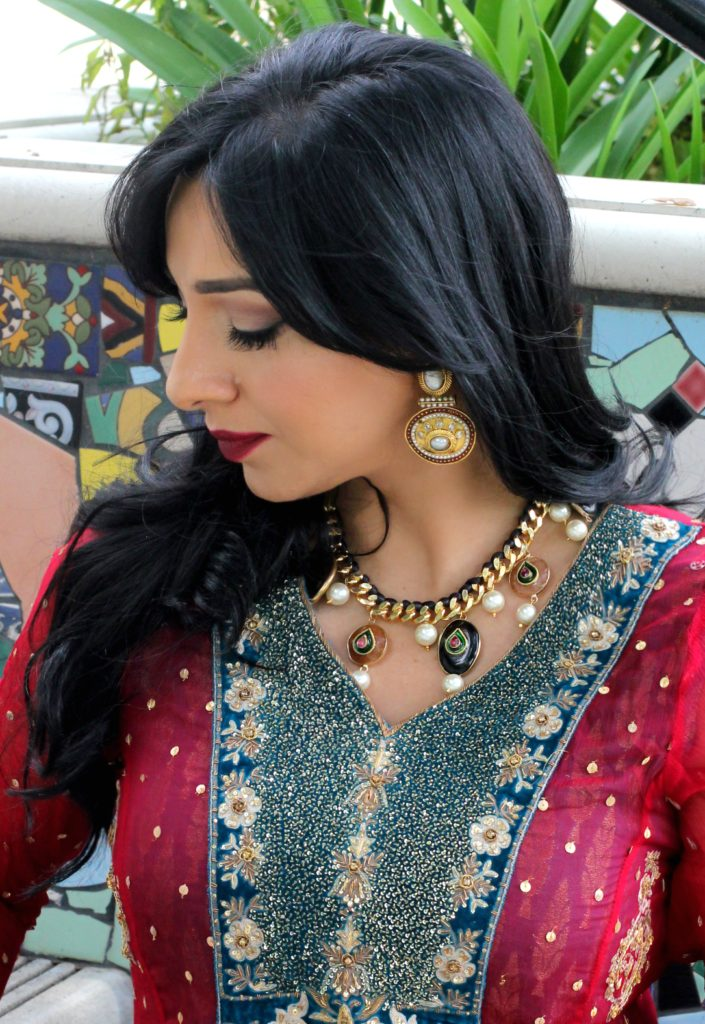 indian jewelry by reema T designs and dress by yoomnas boutique