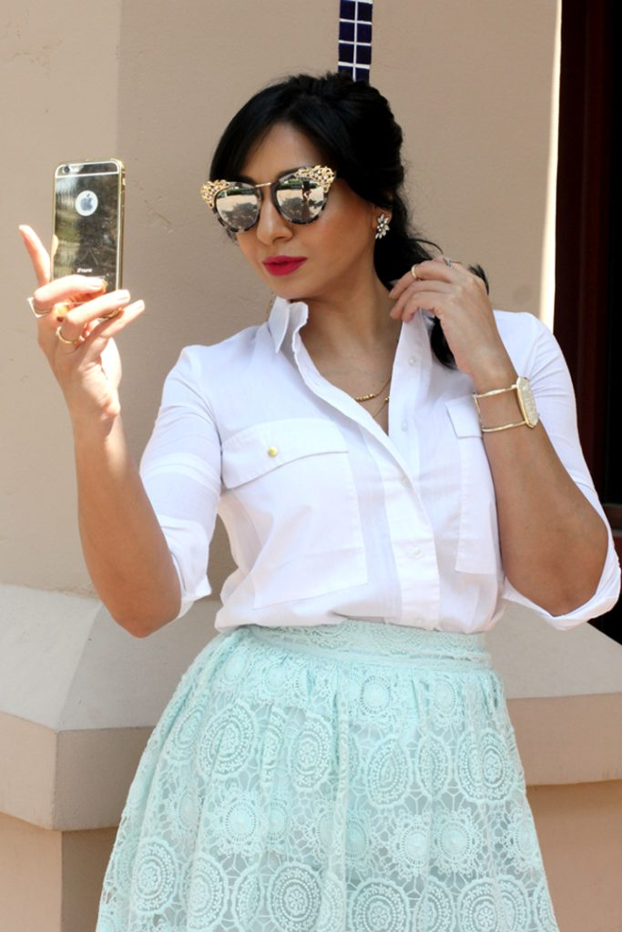 white button down with mint skirt