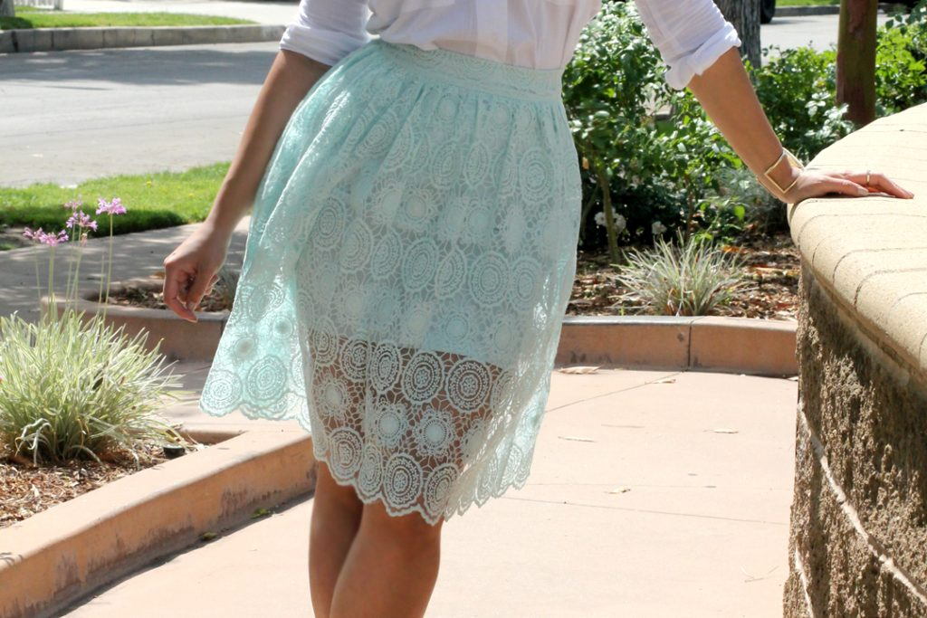 mint lace skirt sheer