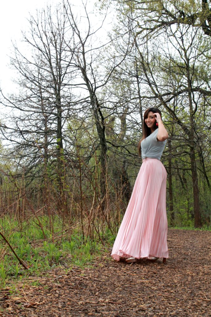 Pink Maxi skirt Chicago Blogger