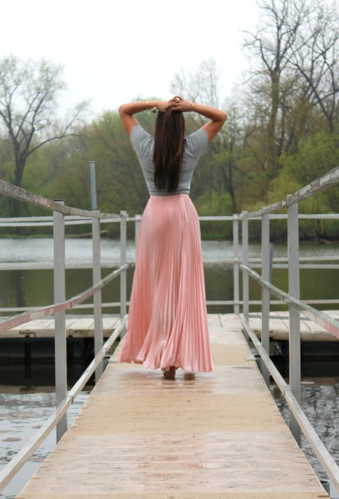 Pink Maxi Skirt with tshirt