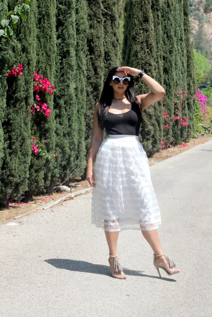black and white tulle skirt