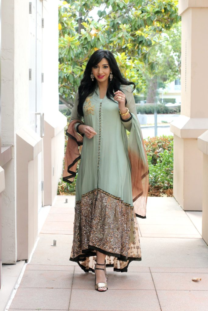 m full legth mint chiffon suit